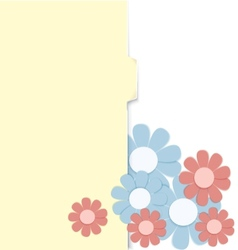 Folder with paper crafted flowers vector image