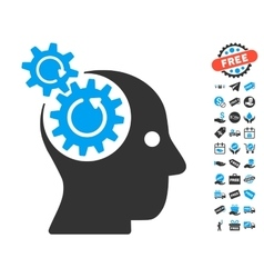 Brain gears rotation icon with free bonus vector