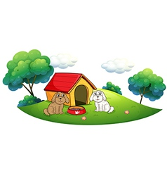 An island with a doghouse and two puppies vector