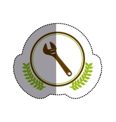 Color sticker circle with wrench and olive branchs vector