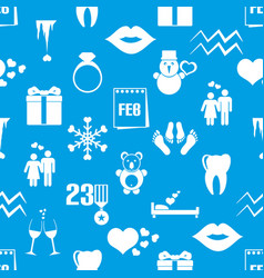 February month theme set of simple icons pattern vector