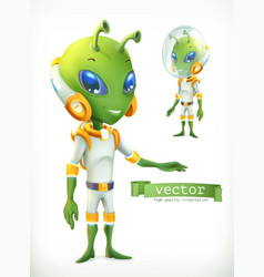 Alien in spacesuit funny character icon 3d vector