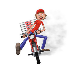 Boy working the pizza delivery riding on red vector