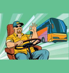 Okay tourist bus driver vector