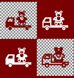 Truck with bear  bordo and white icons and vector