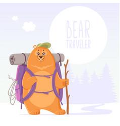 Bear traveler adventure vector