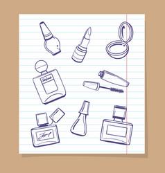 Popular cosmetics sketch icons vector