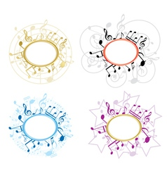 Music oval frames with notes - set vector