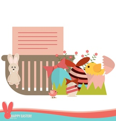 Note paper in basket with easter eggs and flower vector