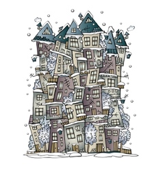 Winter fantasy fairytale drawing town vector
