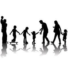 Silhouettes of parents with kids in the park vector image