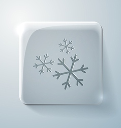 Snowflake glass square icon with highlights vector