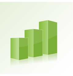 Green step by step chart with positive growth vector