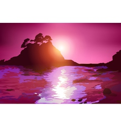 Coast with island at sunset vector