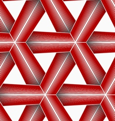 3d colored red triangular striped grid vector