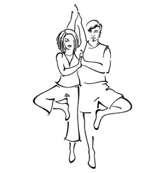 Couple in partner yoga doing tree pose vector
