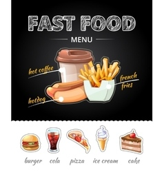 Fastfood advertising on chalkboard vector