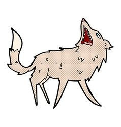 Comic cartoon snapping wolf vector