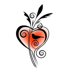 bird and heart vector image