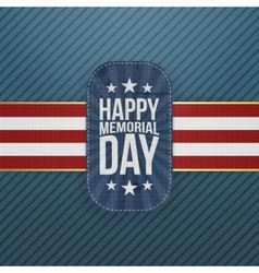 Happy memorial day festive badge and ribbon vector