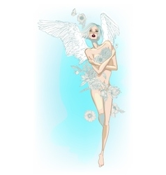 Angel girl with white wings and flowers vector