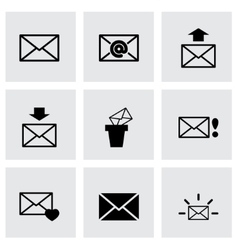 black email icon set vector image vector image