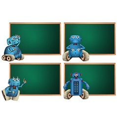 Board template with blue robot vector