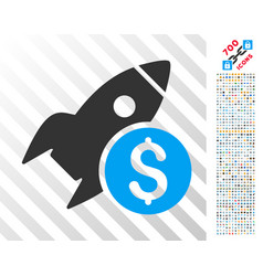 business startup rocket flat icon with bonus vector image vector image