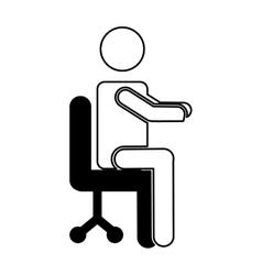 Businessman avatar sitting on office chair vector
