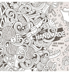 Cartoon cute doodles hand made frame design vector