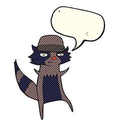 cartoon raccoon with speech bubble vector image vector image