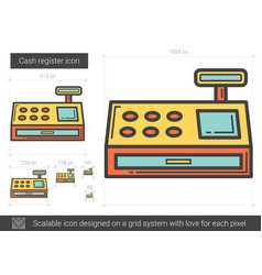 Cash register line icon vector