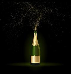 Champagne with gold confetti vector