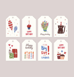 Collection of birthday labels or tags with bouquet vector