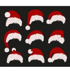 Collection of red santa hats vector image vector image