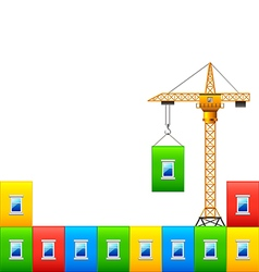Construction crane with wall of colorful house vector image vector image