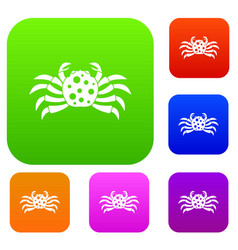 crab sea animal set color collection vector image