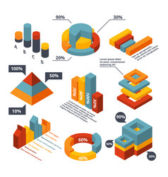 different isometric elements for business vector image