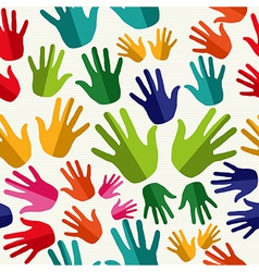 Diversity human hands seamless pattern vector
