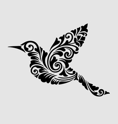 Flying bird floral ornament decoration vector image