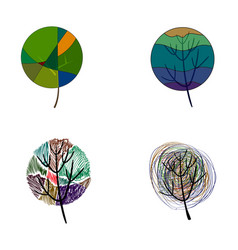 four stylized colored trees vector image vector image