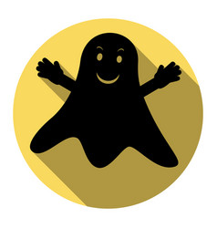 Ghost isolated sign flat black icon with vector