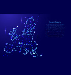 map european union from the contours network blue vector image vector image