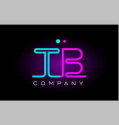 Neon lights alphabet tb t b letter logo icon vector