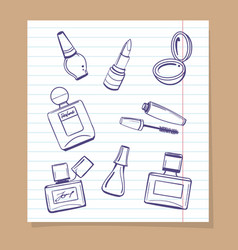 Popular cosmetics sketch icons vector