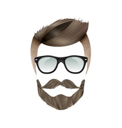 realistic hipster hairstyle vector image