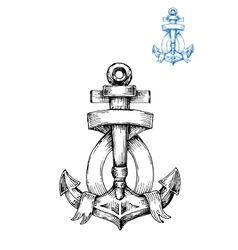 Retro anchor sketch with ribbon vector