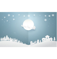 santa claus with reindeer on full moon background vector image vector image