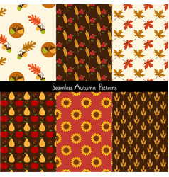 Seamless autumn patterns vector