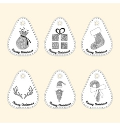 Set of icon with line ornament Christmas vector image